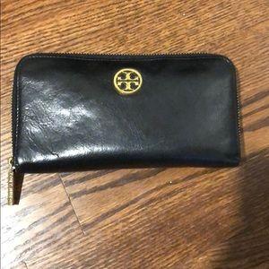 Tory Burch Black Zip Around Wallet
